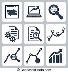 wektor, komplet, dane, analiza, ikony