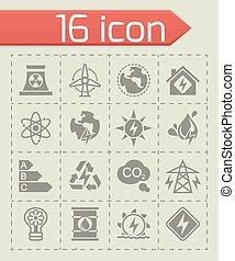 wektor, komplet, energetics, ikona