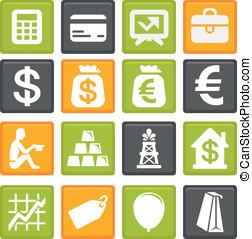 wektor, komplet, finanse, handlowe ikony
