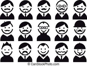 wektor, komplet, głowy, mustaches