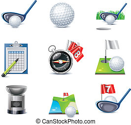 wektor, komplet, golf, ikona
