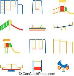 wektor, komplet, ikony, ilustracja, tło, plac gier i zabaw, biały, koźlę