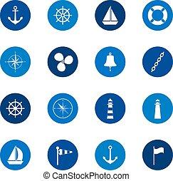 wektor, komplet, ikony, kolor, ilustracja, tło, morze