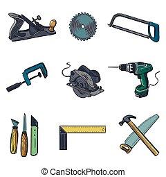 wektor, komplet, ikony, przemysł, -, wyrabianie z drewna, narzędzia, ikona