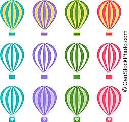 wektor, komplet, ilustracja, powietrze, gorący, tło, biały, balony