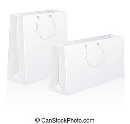 wektor, komplet, ilustracja, torba, papier, czysty, shoping, biały
