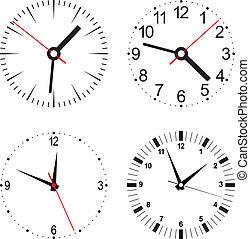 wektor, komplet, ilustracja, zegar