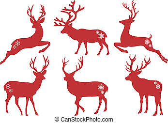 wektor, komplet, jeleń, boże narodzenie, jelenie