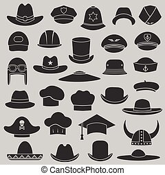 wektor, komplet, kapelusz, i, korona