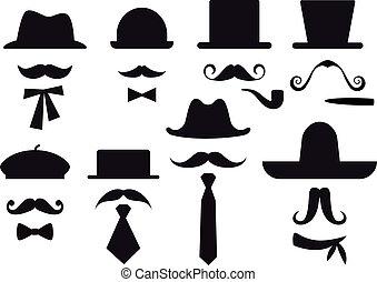 wektor, komplet, kapelusze, wąsy