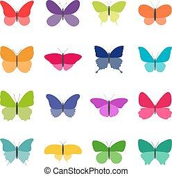 wektor, komplet, kolor, ilustracja, motyle, tło, biały