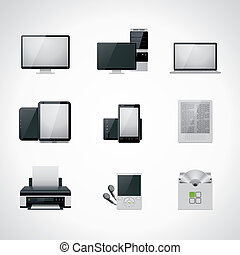 wektor, komplet, komputerowa ikona