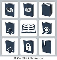 wektor, komplet, książki, odizolowany, ikony