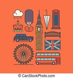 wektor, komplet, londyn, ilustracja, ikona