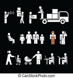wektor, komplet, ludzie, praca, -, ar, ikona