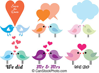 wektor, komplet, miłość ptaszki, serca