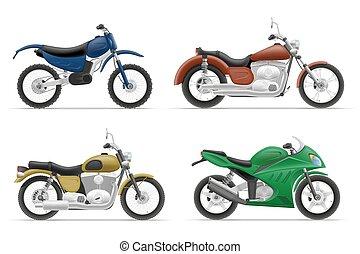 wektor, komplet, motocykl, ilustracja, ikony