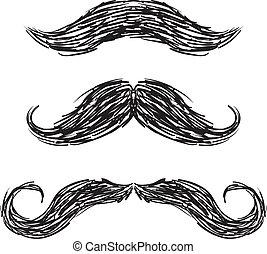 wektor, komplet, moustaches