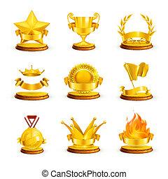 wektor, komplet, nagrody, złoty