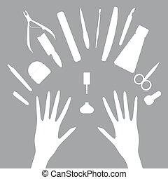 wektor, komplet, narzędzia, manicure, ikony