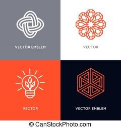 wektor, komplet, od, abstrakcyjny, logo, zaprojektujcie szablony, w, modny, linearny, styl
