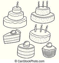 wektor, komplet, od, ciasto
