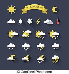 wektor, komplet, od, dwadzieścia, pogoda, ikony, w, modny, płaski, style.