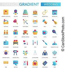 wektor, komplet, od, modny, płaski, nachylenie, ślub, icons.