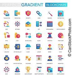 wektor, komplet, od, modny, płaski, nachylenie, blockchain, cryptocurrency, icons.