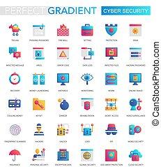 wektor, komplet, od, modny, płaski, nachylenie, cyber, bezpieczeństwo, icons.