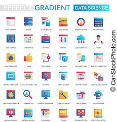 wektor, komplet, od, modny, płaski, nachylenie, dane, nauka, icons.