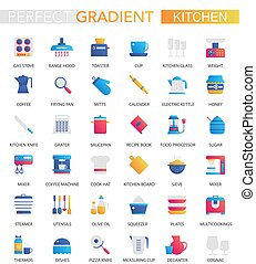 wektor, komplet, od, modny, płaski, nachylenie, kuchnia, icons.