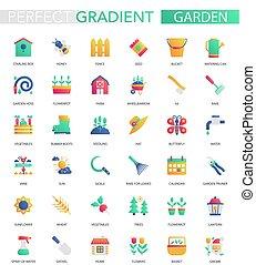 wektor, komplet, od, modny, płaski, nachylenie, ogród, icons.