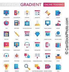 wektor, komplet, od, modny, płaski, nachylenie, online wykształcenie, icons.