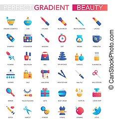 wektor, komplet, od, modny, płaski, nachylenie, piękno, kosmetyki, icons.