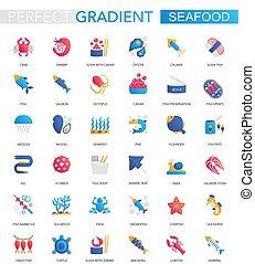 wektor, komplet, od, modny, płaski, nachylenie, produkty morza, icons.
