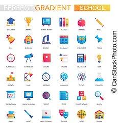 wektor, komplet, od, modny, płaski, nachylenie, szkoła, wykształcenie, icons.