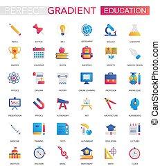 wektor, komplet, od, modny, płaski, nachylenie, wykształcenie, icons.