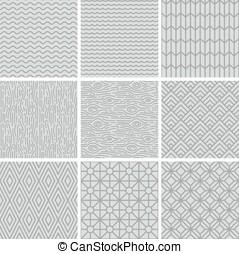wektor, komplet, od, prosty, mono, kreska, wzory