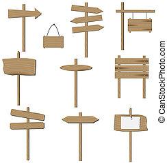 wektor, komplet, od, różny, drewniany, signs.