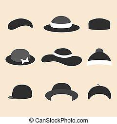wektor, komplet, od, różny, kapelusz, ikony, w, modny, płaski, style.