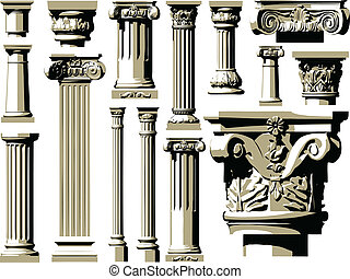 wektor, komplet, od, rocznik wina, starożytny, colum