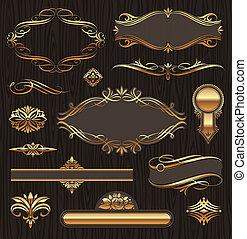 wektor, komplet, od, złoty, ozdobny, strona, dekoracje, elements:, chorągwie, układa, deviders, upiększenia, i, wzory, na, ciemny, drewno, tło