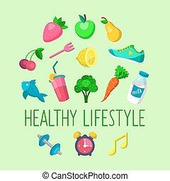 wektor, komplet, od, zdrowy lifestyle, ikony, w, modny, płaski, style.