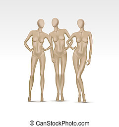 wektor, komplet, odizolowany, samica, mannequins