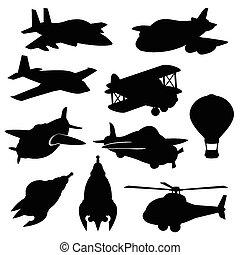 wektor, komplet, odizolowany, samolot, ikony