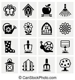 wektor, komplet, ogrodnictwo, ikona