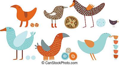 wektor, komplet, orange-blue, ptaszki