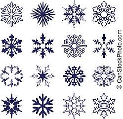 wektor, komplet, płatki śniegu