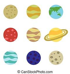 wektor, komplet, planety, barwny, ikony